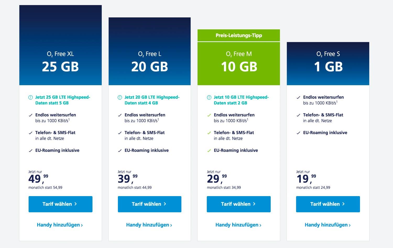 o2 Free: Neue Tarife bis 25 GB Daten