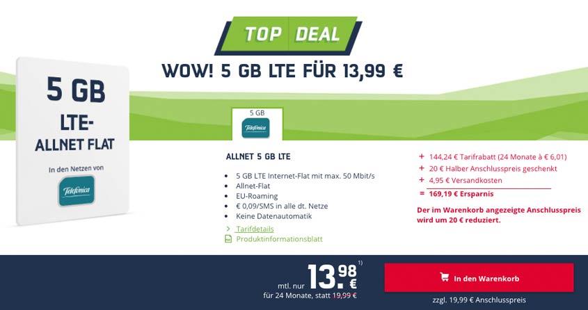 5 GB Allnet Flat für 13,99 Euro