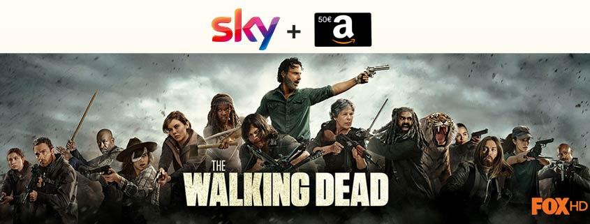 """Neue Staffel von """"The Walking Dead"""" – Sky Jahresabo ab 16,99 €/mtl + 50 € Amazon-Gutschein"""