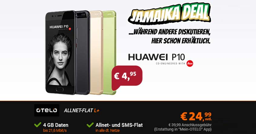 Huawei P10 + otelo Allnet Flat L Plus für 24,99€ /mtl. – effektiv nur 5,99€