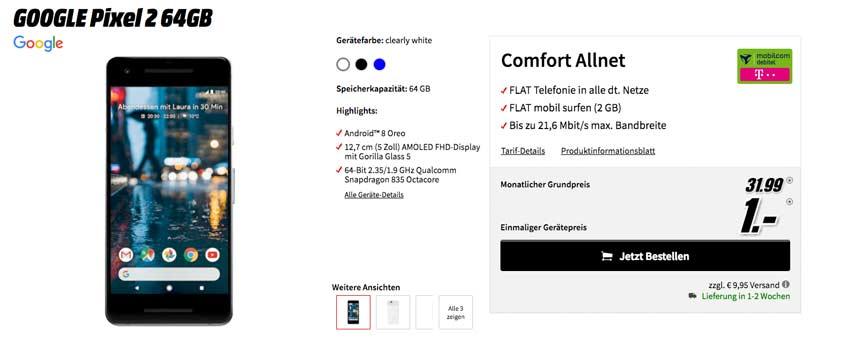 Google Pixel 2 + md Telekom Comfort Allnet für 31,99 €/mtl.