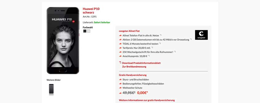 Huawei P10 + congstar Allnet Falt für 30,00 €