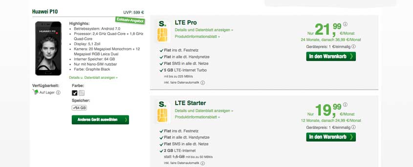 smartmobil LTE Pro + Huawei P10