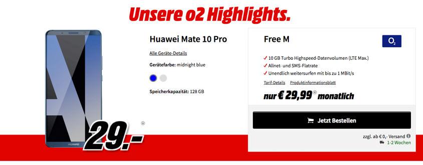 Deal bei MediaMarkt: Huawei Mate 10 Pro + o2 Free M