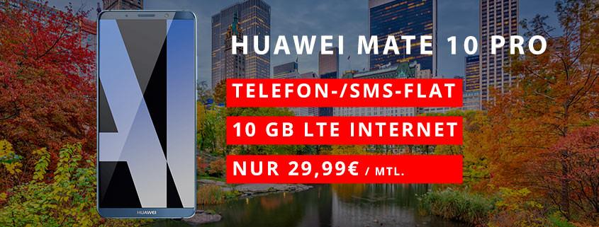 Huawei Mate 10 Pro + o2 Free M für 29,99 €/mtl.