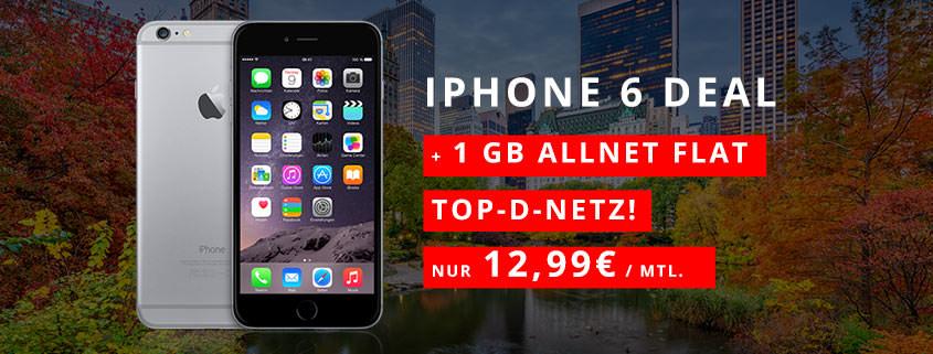 iPhone 6 + klarmobil Allnet Flat 1 GB für 12,99 €/mtl.