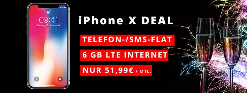 iPhone X + Vodafone 6 GB Flat für 51,99 €/mtl.