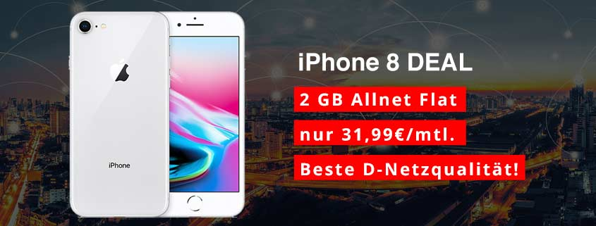 iPhone 8 64 GB + Telekom Comfort Allnet (2 GB) für effektiv nur 4,28 €/mtl.
