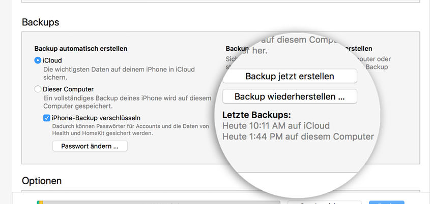 iPhone Backup erstellen