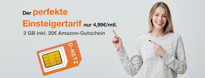 md Smart Surf (Vodafone-Netz): 50 Min. + 50 SMS + 2 GB Internet Flat nur 4,99 €/mtl. – inkl. 20 € Amazon-Gutschein