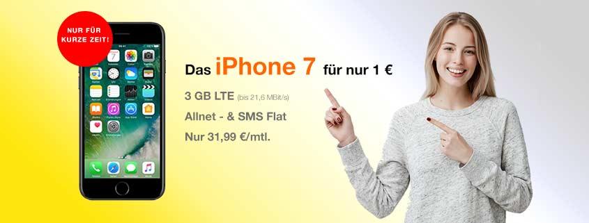 iPhone 7 32 GB für 1 € + Blau Allnet L (Allnet Flat, SMS Flat, 3 GB LTE) für effektiv 9,16€/mtl.