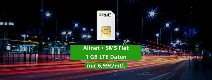 deinhandy.de Einsteiger-Tarif: Allnet Flat, SMS Flat, 1 GB Daten für 6,99€/mtl.