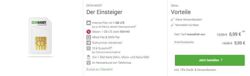 Deinhandy.de Einsteiger Tarif (sim-only)