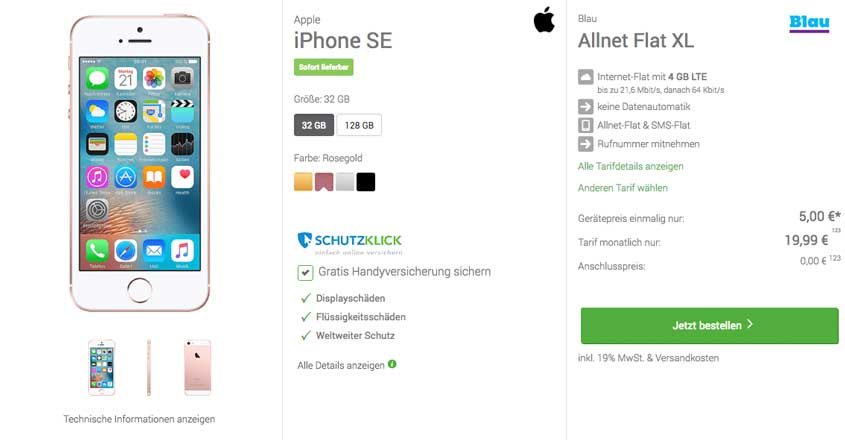 deinhandy.de Deal: iPhone SE für 19,99€/mtl.