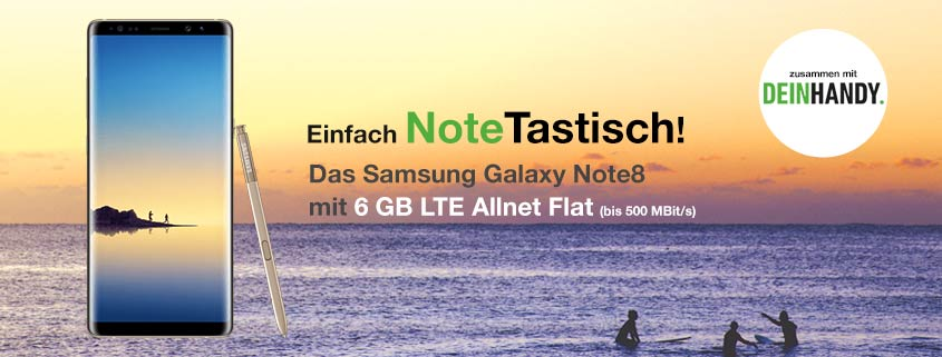Samsung Galaxy Note8 + Vodafone Smart XL (6 GB LTE Flat) für effektiv 14,91€/mtl.