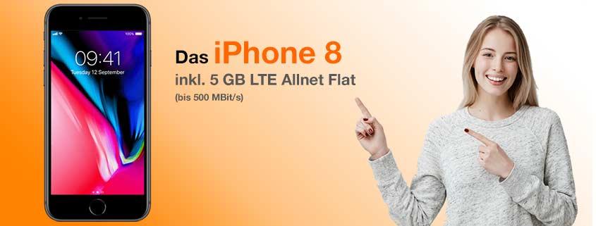 iPhone 8 + 5 GB LTE Flat für 36,99€/mtl.