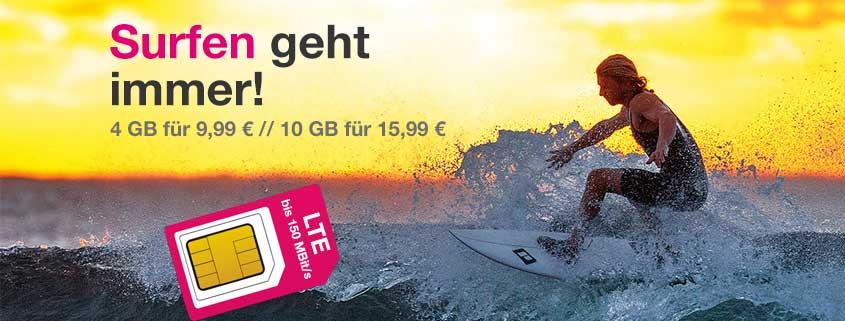 Telekom-Netz: 4 GB LTE Flat für 9,99€ oder 10 GB LTE Flat für 15,99€