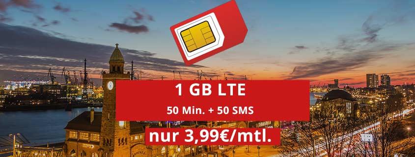 md Smart Surf (o2): 50 Minuten, 50 SMS & 1 GB LTE Daten für 3,99 €/mtl.