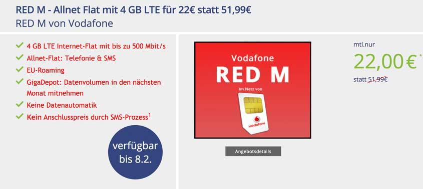 Vodafone Red M (md) für 22,00€/mtl.