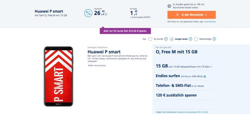 Huawei P Smart + 15 GB LTE Flat für 26,99 €