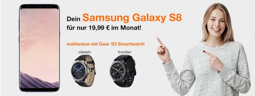 Samsung Galaxy S8 + Smartwatch mit rund 100 € Ersparnis