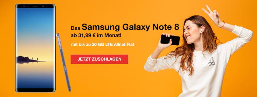 Samsung Galaxy Note 8 Deals // bis zu 20 GB LTE // ab 31,99€/mtl.