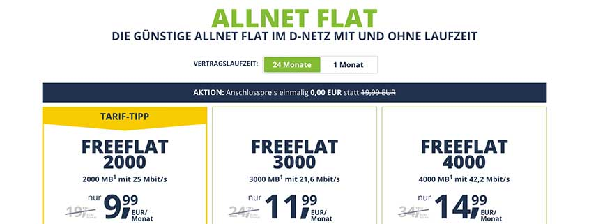 2 GB Telekom Allnet Flat für 9,99 € // Einsteigertarif (100 Min. + 400 MB) für 3,99 €