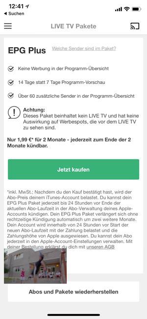 EPG mit Online-TV auf dem Handy