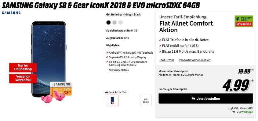 Samsung Galaxy S8 + iconX + microSD Karte für 19,99 Euro