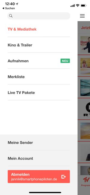 Menü in der TV Spielfilm Live App