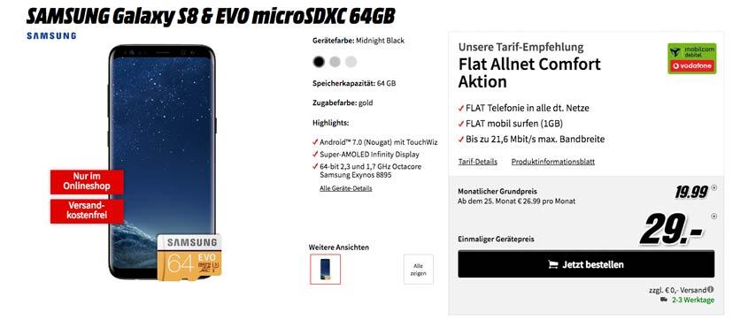 Samsung Galaxy S8 für 19,99 €