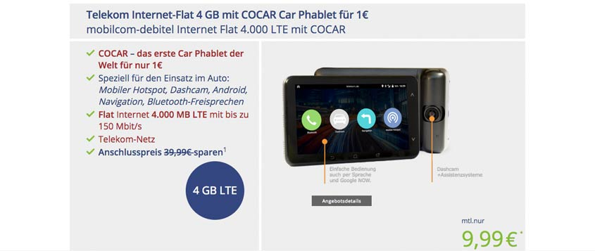 COCAR Phablet inkl. 4 GB LTE-Datenflat für 9,99 Euro