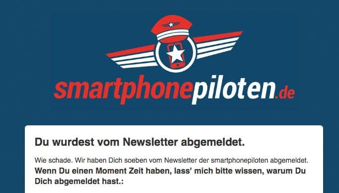 smartphonepiloten Newsletter Abmeldung Bestätigung