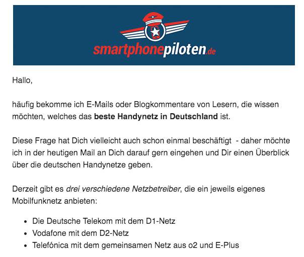 smartphonepiloten Newsletter Beispiel