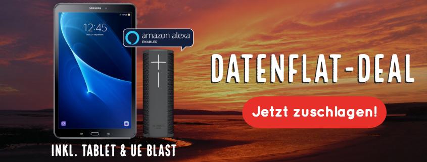 5 GB LTE Daten-Flat (Vodafone) inkl. Samsung Tablet + UE Blast Bluetooth Lautsprecher für nur 17,49 €/mtl.