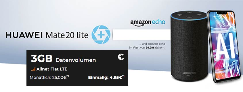 Huawei Mate 20 Lite mit 3 GB LTE Allnet Flat