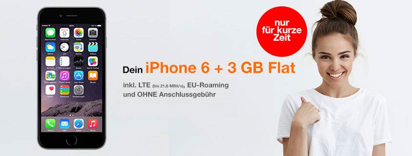 iPhone 6 + 3 GB LTE Allnet Flat für 16,99 €/mtl.
