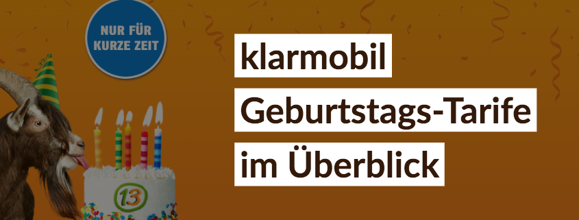 klarmobil Geburtstagsaktion – Telekom Allnet-Flat schon ab 13 €/mtl.