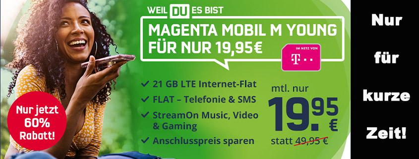 Telekom Magenta Mobil M Young mit 21 GB für nur 19,95 € im Monat!