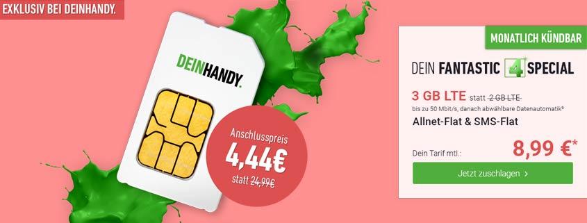 TOP-Angebot bei DeinHandy: Allnet-Flat, 3 GB LTE Datenvolumen, monatlich kündbar für nur 8,99 EUR Grundgebühr.