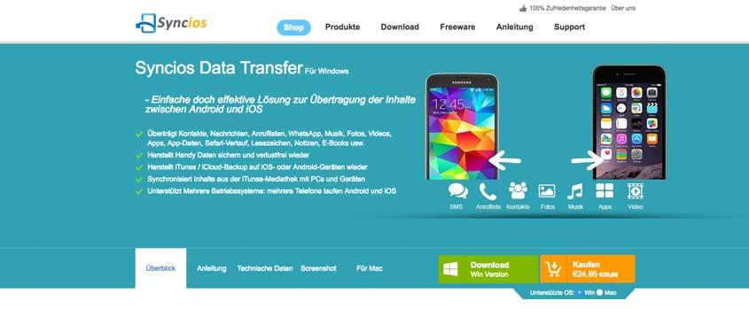 SynciOS - Wechsel von iOS zu Android