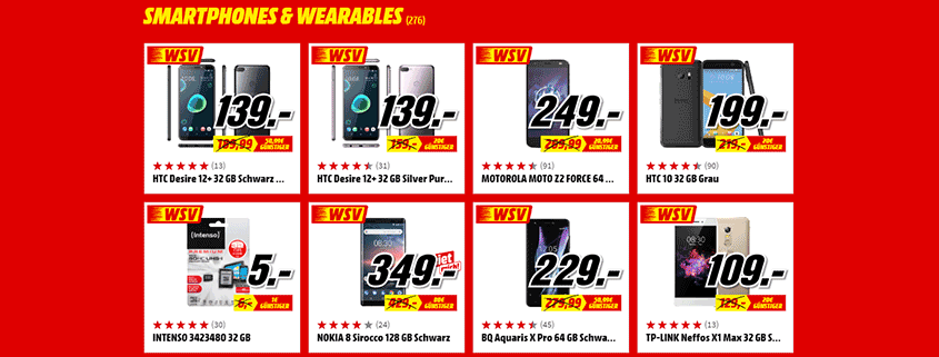 Media Markt Smartphones und Wearables
