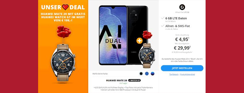 Huawei Mate 20 + Gratis Huawei Watch GT + otelo Comfort LTE 50 zum Valentinstag
