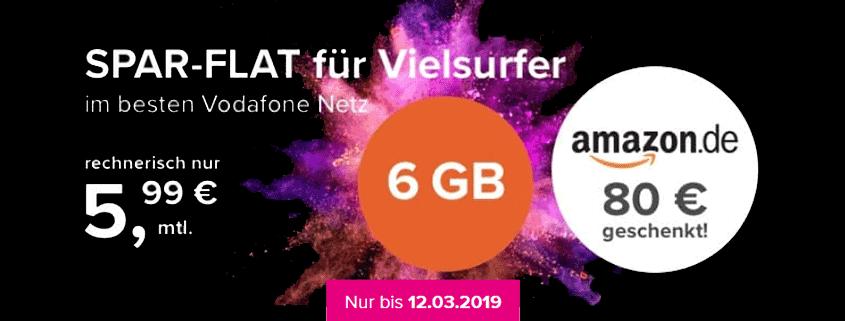 Tarifhaus 6 GB Allnet-Flat + 80 € Amazon-Gutschein