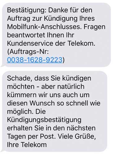 Telekom Kündigungsbestätigung SMS