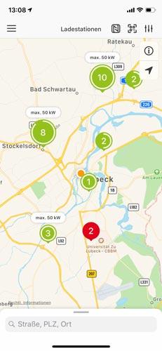 Ladestationen auf der Karte anzeigen