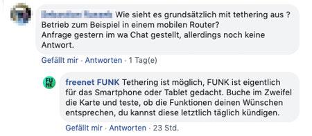 freenet FUNK Tethering
