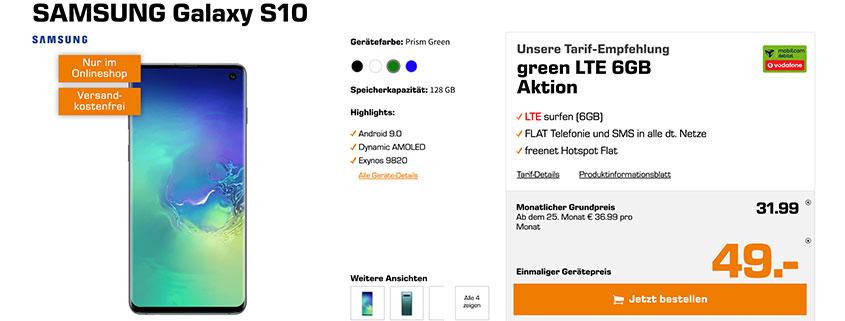 Saturn Samsung Galaxy S10 inkl. 6 GB LTE Flat