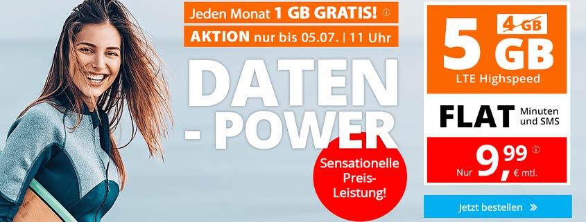 sim.de 5 GB Flat für 9,99 € pro Monat