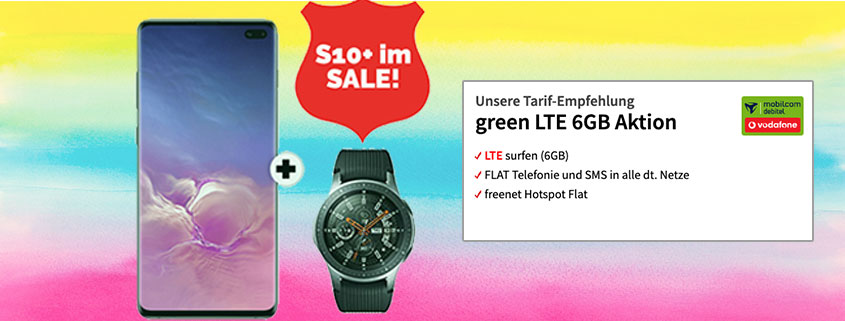 Samsung Galaxy S10+ inkl. Galaxy Watch & green LTE 6 GB